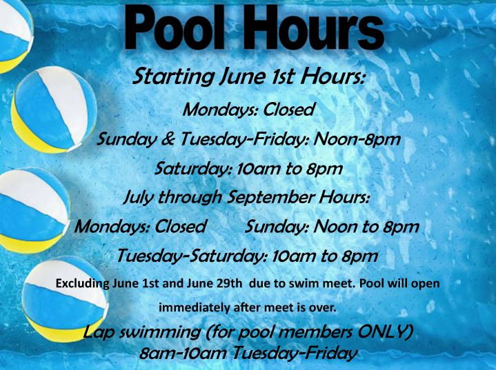 Swimming Pool Hours - Summer 2019